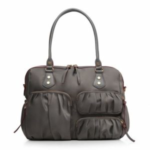 Must have gray diaper bag with handles on white background.